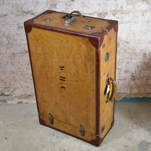 Load image into Gallery viewer, Antique Leather Travel Case Trunk Wardrobe Steamer Vintage Adventure Suitcase