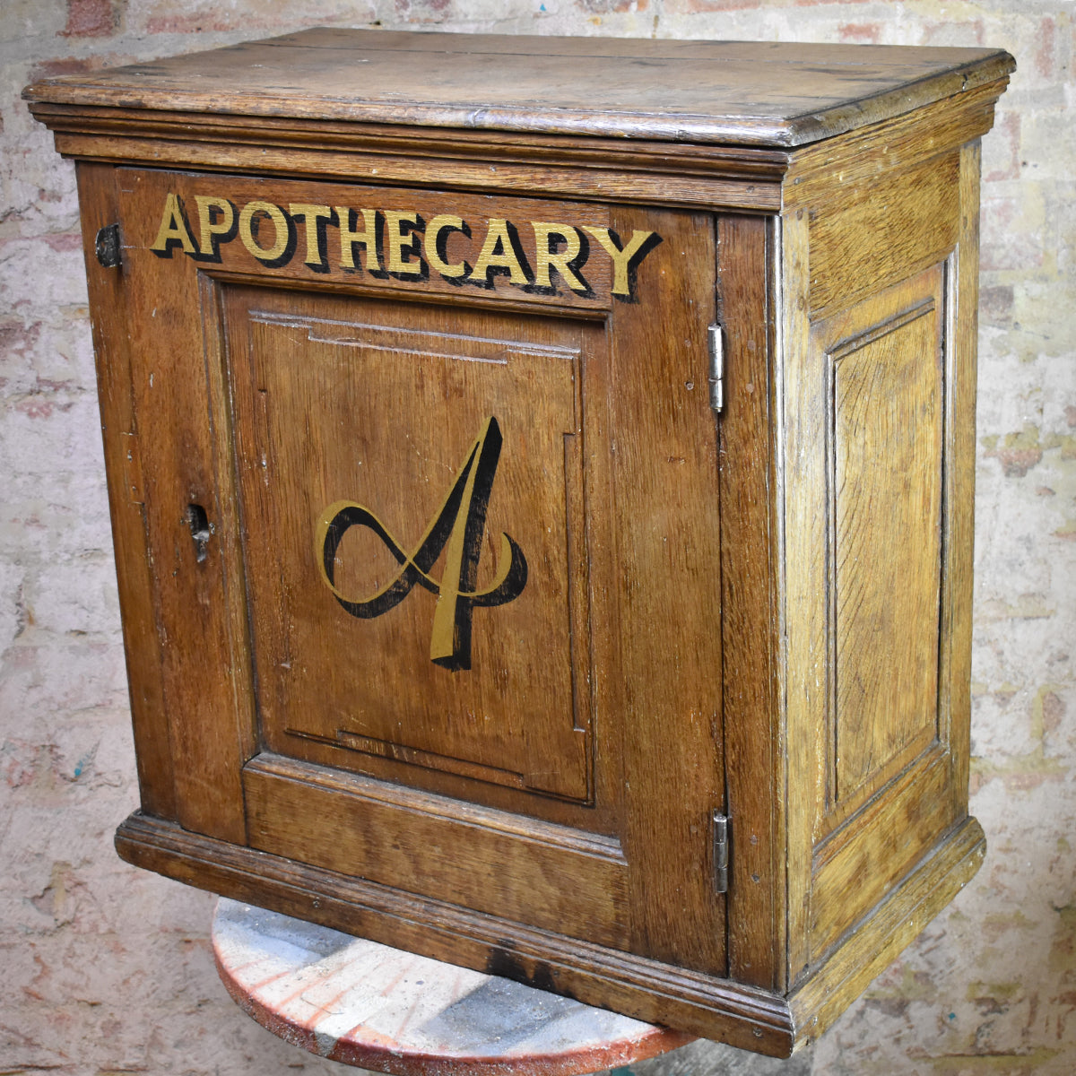 Antique Oak Apothecary Cabinet Vintage Storage Chemist Pharmacy Cupboard