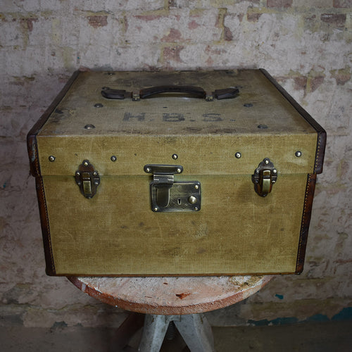 Antique Canvas Leather Suitcase Finnigans Manchester London Case Hat Box Trunk
