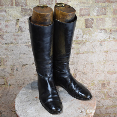 Vintage Leather Riding Boots With Original Wooden Shoe Trees