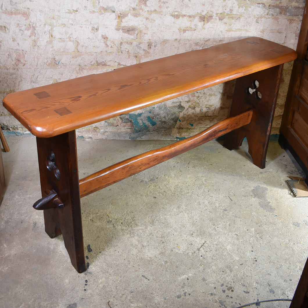 Antique Stained Pine Church Organ Bench