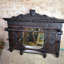 Load image into Gallery viewer, Antique Victorian Carved Oak Mirror / Cloak Room Shelf
