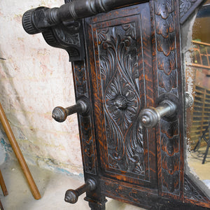 Antique Victorian Carved Oak Mirror / Cloak Room Shelf
