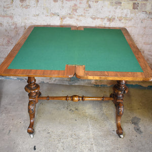 Antique Victorian Walnut Extendable Card Table