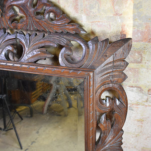 Antique Victorian Oak Mirror With Carved Frame