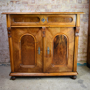 Antique Victorian Walnut Sideboard Cabinet Cupboard Veneer Console