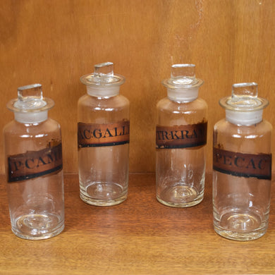 Apothecary Bottles Antique Set of 4 Chemist Bottles Vintage