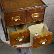 Load image into Gallery viewer, Antique Four Drawer Index Filing Cabinet Oak Pine OfficeBank of Drawers Storage