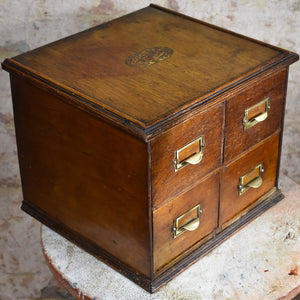 Antique Four Drawer Index Filing Cabinet Oak Pine OfficeBank of Drawers Storage