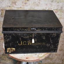 Load image into Gallery viewer, Antique Metal Deed Box J.C. Woodman Black Security Storage