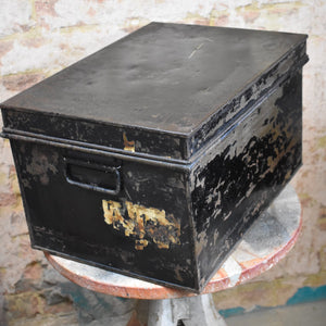 Antique Metal Deed Box J.C. Woodman Black Security Storage