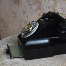 Load image into Gallery viewer, Antique Black Bakelite Telephone GPO 332 Fully Working Art Deco Dial Telephone