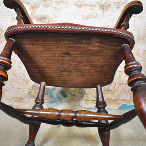 Antique Oak Smokers Bow Armchair Office Desk Captain's Chair Leather Seat