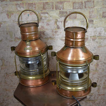 Load image into Gallery viewer, Pair Antique Copper Ships Lights Lamps Nautical