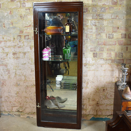 Antique Mahogany Edwardian Shop Display Cabinet Museum Cabinet