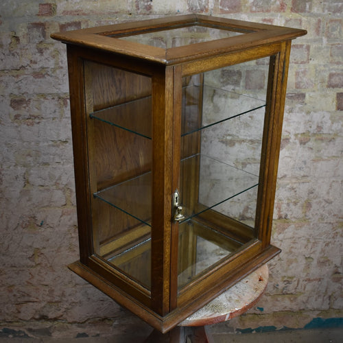 Antique Edwardian Oak Glazed Display Cabinet Shelves Haberdashery Shop