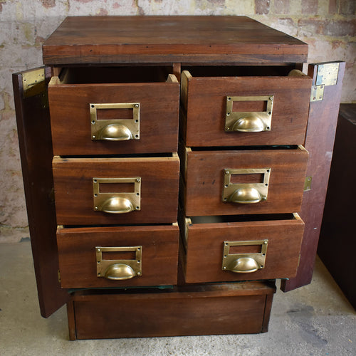 Antique filing cabinet bank of drawers index drawers haberdashery