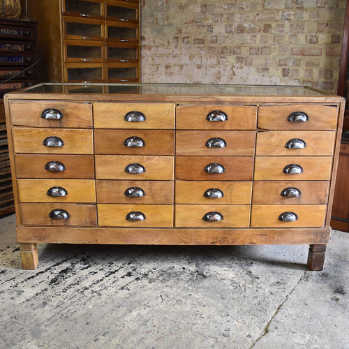 Antique Clements Newling & Co. Haberdashery Shop Cabinet Counter Bank of Drawers