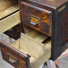 Load image into Gallery viewer, Antique Panelled Oak Four Drawer Index Filing Cabinet Bank of Drawers