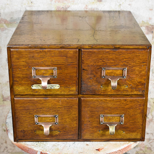 Antique Advance 4 Drawer Oak Filing Cabinet Index Drawers JC King London 6x4