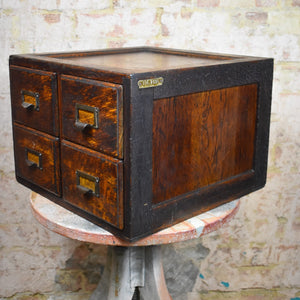 Antique Panelled Oak Four Drawer Index Filing Cabinet Bank of Drawers