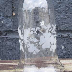 Antique Victorian Hand Blown Glass Pansy Etched Hurricane Bell Cloche Shade Dome