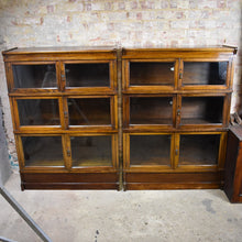 Load image into Gallery viewer, Antique Stacking Sectional Bookcase Simpoles Manchester Oak Haberdashery Display