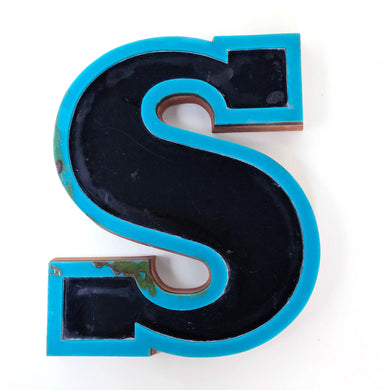 S - Medium Factory Shop Letter Ply Wood & Perspex Black & Blue