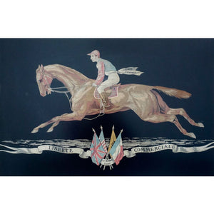 Antique French Fine Woven Silk Panel - Race Horse & Jockey Rider