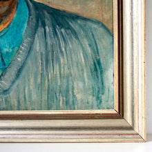 Load image into Gallery viewer, Large Mid Century Portrait Oil Painting - Man in Blue