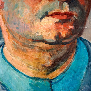 Large Mid Century Portrait Oil Painting - Man in Blue
