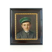 Load image into Gallery viewer, Antique Oil Painting Portrait - Boy in Green Cap