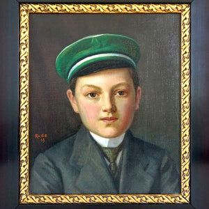 Antique Oil Painting Portrait - Boy in Green Cap