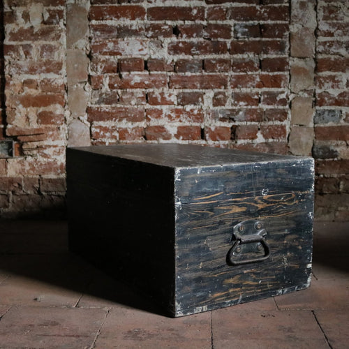 Painted Black Vintage Trunk Chest