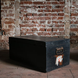 Small Painted Black Vintage Trunk Chest