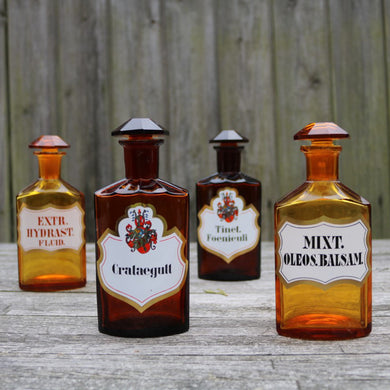Antique Apothecary Bottles - Set of Four