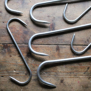 Original Large Stainless Steel Butcher's Hooks - Set of 9