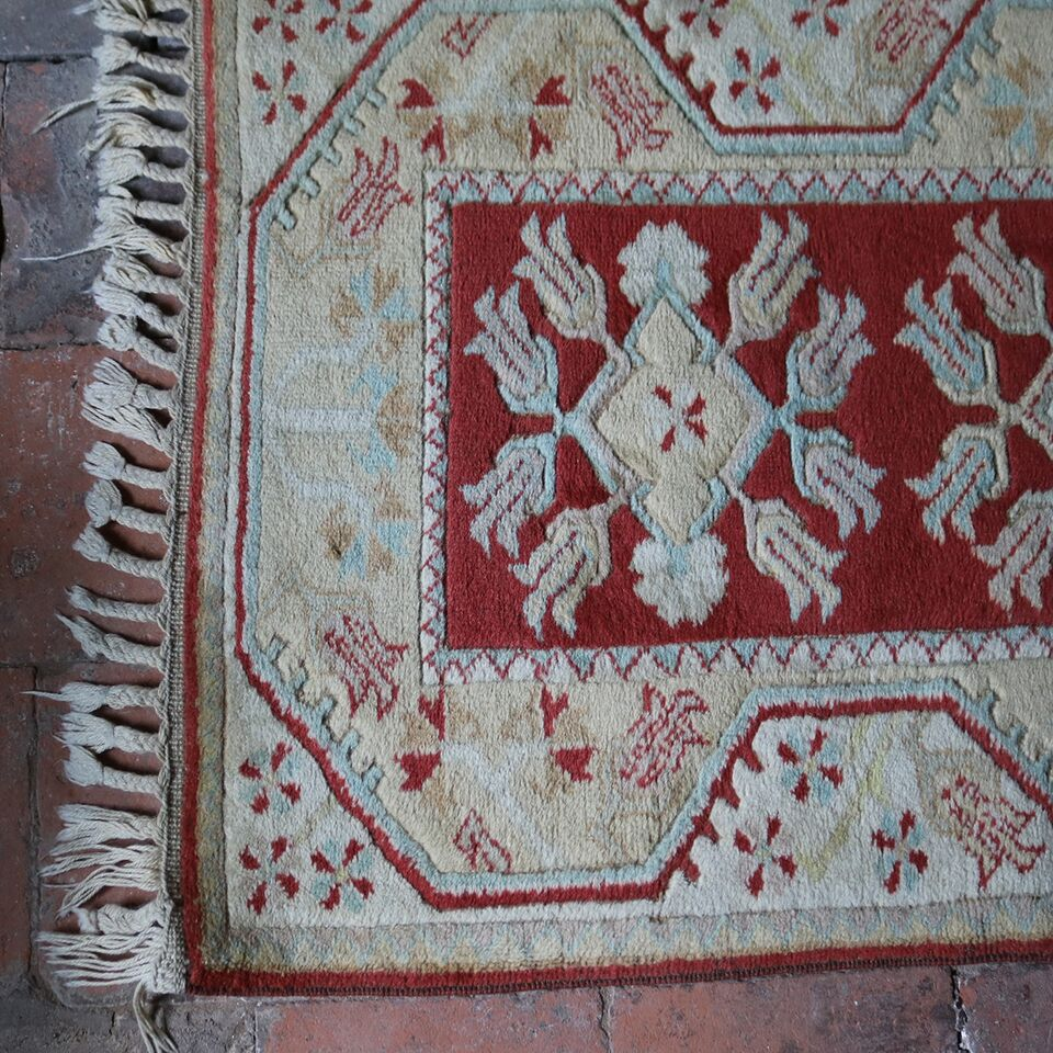 Hand-woven Vintage Wool Rug - Terracotta & Duck Egg Blue