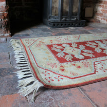 Load image into Gallery viewer, Hand-woven Vintage Wool Rug - Terracotta & Duck Egg Blue