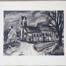 Load image into Gallery viewer, Antique French Ink & Charcoal Seine et Marne Street Scene