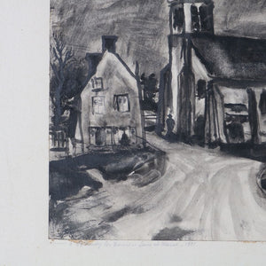 Antique French Ink & Charcoal Seine et Marne Street Scene
