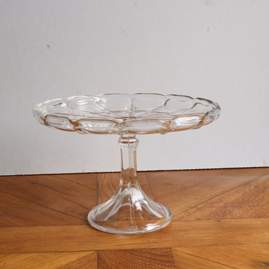 Vintage Pressed Glass Cake Stand - Tall