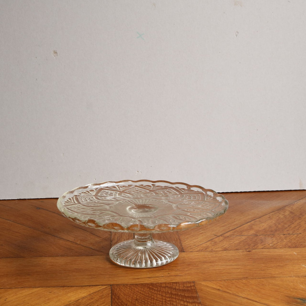 Vintage Pressed Glass Cake Stand - Medium D