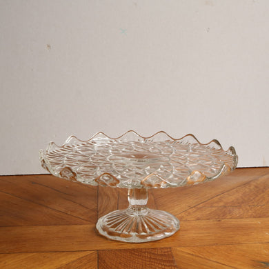 Vintage Pressed Glass Cake Stand - Medium F