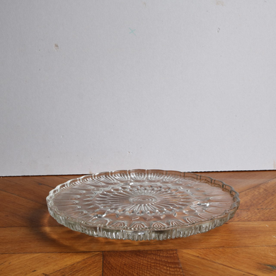 Vintage Pressed Glass Cake Stand - Flat