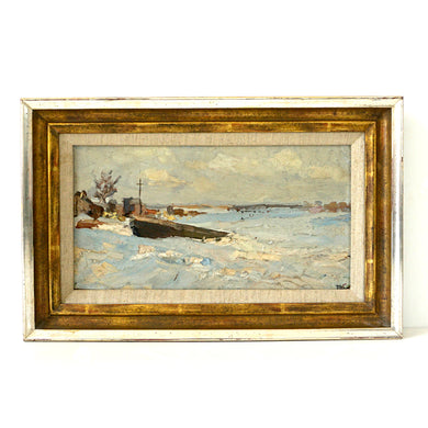 Vintage Oil Painting 'Snowy Winter Landscape With Stranded Sailing Boat'