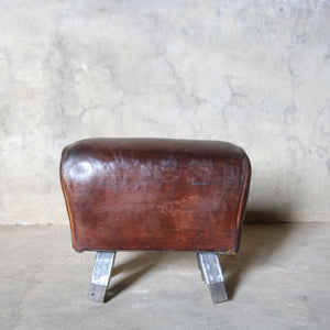 Small Vintage Leather Gymnasium Pommel Horse