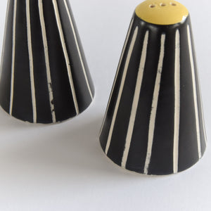Vintage Black and White Ceramic Salt and Pepper Shakers / Pots on Teak Stand