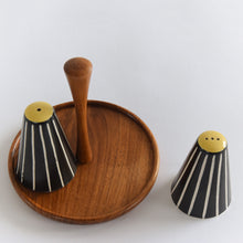Load image into Gallery viewer, Vintage Black and White Ceramic Salt and Pepper Shakers / Pots on Teak Stand