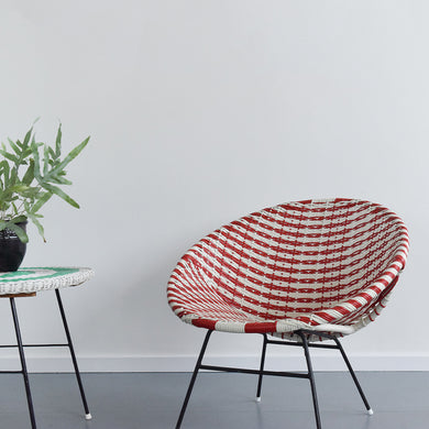 Vintage Large Red and White Wicker Satellite Tub Chair